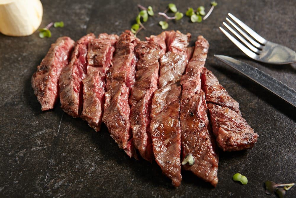 cutting skirt steak